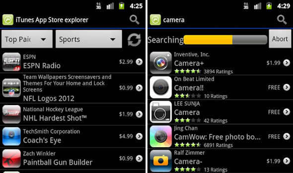 See what apps are in the iTunes App Store on your Android