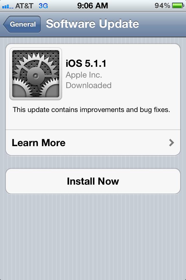 iOS 5.1.1 Update