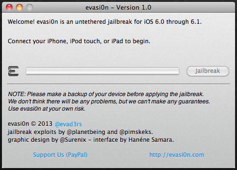 Download Evasi0n 1.0 untethered jailbreak tool for iOS 6.1