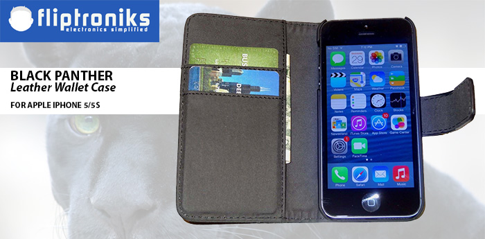 Fliptroniks iPhone 5 Black Panther Leather Wallet Case
